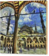 The Blue Mosque Istanbul Art Wood Print