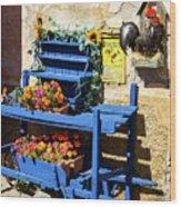 The Blue Wheelbarrow Wood Print