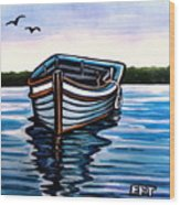The Blue Wooden Boat Wood Print