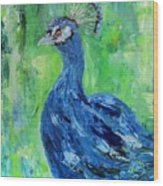 The Blues,peacock  Wood Print