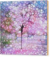 The Blushing Tree In Bloom Wood Print