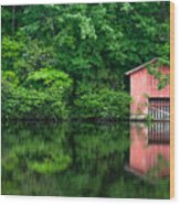 The Boat House At Desoto Falls Wood Print