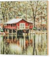The Boat House Wood Print