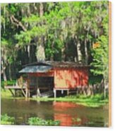 The Boat House Wood Print