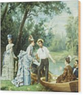 The Boating Party Wood Print