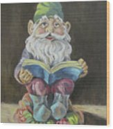 The Book Gnome Wood Print