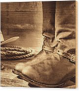 The Boots Wood Print