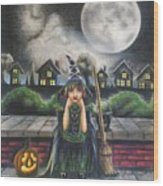 The Bored Little Witch Wood Print