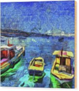 The Bosphorus Istanbul Art Wood Print