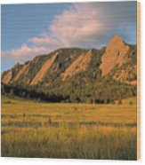 The Boulder Flatirons Wood Print