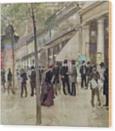 The Boulevard Montmartre And The Theatre Des Varietes Wood Print