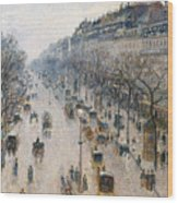 The Boulevard Montmartre On A Winter Morning, 1897  Wood Print