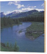 The Bow River And Castle Mountain Wood Print