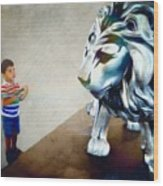 The Boy And The Lion 10 Wood Print