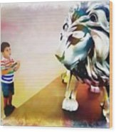The Boy And The Lion 11 Wood Print