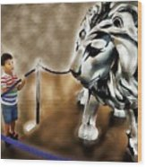 The Boy And The Lion 13 Wood Print