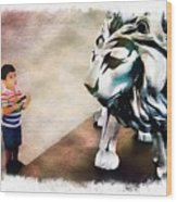 The Boy And The Lion 9 Wood Print