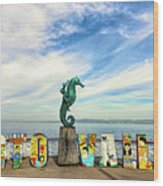 The Boy On The Seahorse Pano Wood Print
