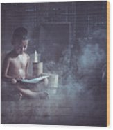 The Boy Reads A Book In The House With Kuan Wood Print