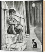 The Boy The Cat And A Flute Wood Print