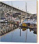 The Bridge And Marina Wood Print