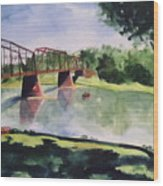 The Bridge At Ft. Benton Wood Print