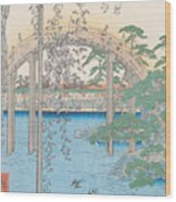 The Bridge With Wisteria Wood Print