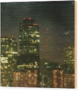 The Bright City Lights Wood Print