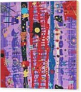 The Bright Red Ladder To Success Wood Print