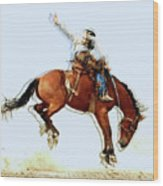 the Bronc Buster Wood Print