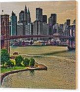 Vintage Brooklyn Bridge Wood Print