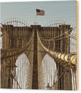 The Brooklyn Bridge Flag Wood Print