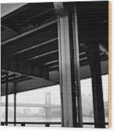 The Brooklyng Bridge And Manhattan Bridge From Fdr Drive Wood Print