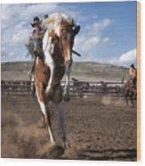 The Buckout at Sombrero Ranch Wood Print