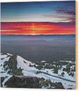 The Burning Clouds At Crater Lake Wood Print