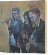 The Buskers Wood Print