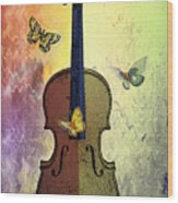 The Butterflies And The Violin Wood Print
