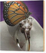 The Butterfly And The Engagement Ring Wood Print