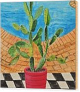 The Cactus From Nigeria Wood Print
