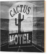 The Cactus Motel Wood Print