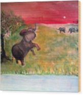 The Calling - Elephants On The Serengeti Wood Print