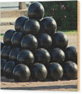 The Cannonballs At The Battery In Charleston Sc Wood Print