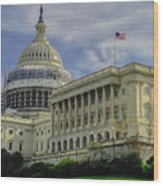 The Capitol Under Construction Wood Print