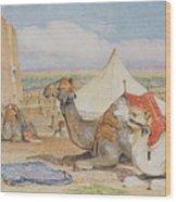 The Caravan, An Arab Encampment At Edfou Wood Print