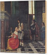 The Card Players Wood Print by  Pieter de Hooch