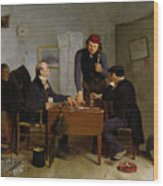 The Card Players Wood Print by  Richard Caton Woodville