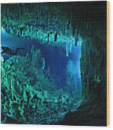 The Cascade Room Leads Divers Deeper Wood Print by Wes C. Skiles