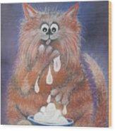 The Cat Who Got The Cream Wood Print