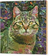 The Cat Who Loved Flowers 1 Wood Print