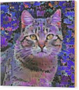 The Cat Who Loved Flowers 3 Wood Print